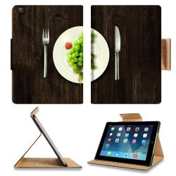 Green Grapes Fork Knife Dish Apple Ipad Air Retina Display 5Th Flip Case Stand Smart Magnetic Cover Open Ports Customized Made To Order Support Ready Premium Deluxe Pu Leather 9 7/16 Inch (240Mm) X 7 5/16 Inch (185Mm) X 5/8 Inch (17Mm) Luxlady Ipad Profes