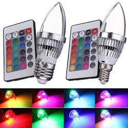 Kingso 1X E14 E27 3W Rgb Led Light Bulb Candle Light 16 Colors Lamp With Remote Control Ac85-265V