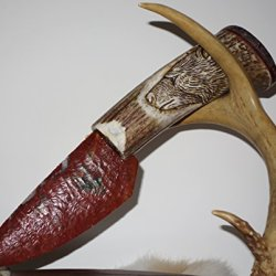 Reduced Fire Red Jasper Knapped Knife On Bear Carved Handle Exotic Butterfly Jasper