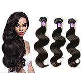 "Mornice Hair 3 Bundles 8A Grade Peruvian Remy Virgin Hair 300g Body Wave Human Hair Extensions Weave (Natural Black,14""16""18"")"