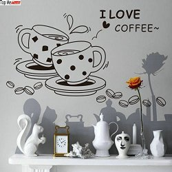 Top-Me Wall Vinyl Decal I Love Coffee Quote Home Wall Decor Sticker Mural Design Kitchen Cafe Tm8241