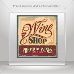 Decal Stickers Wine Shop Vintage Sign Hobbies Motorbike Vehicle Tablet Lapto (4 X 3.80 In)