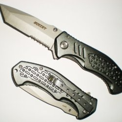 "7 3/4"" Tanto Blade Assisted Opening Titan Handle Pocket Knife With Grip Handle"