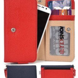 Doogee Dagger Dg550 Wallet & Wristlet Case || Red And Navy Blue With Credit Card Holder