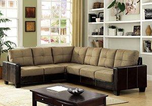 1PerfectChoice-Lavena-Sectional-Sofa-L-Shaped-Tufted-Cushion-Tan-Microfiber-Brown-Leatherette