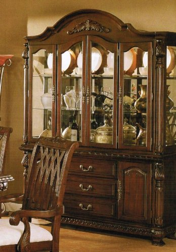 Image of China Cabinet Buffet Hutch - Traditional Dark Cherry Finish (VF_F6064)