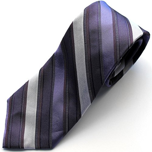 Calvin Klein カルバンクライン ネクタイ レジメンタル くすんだ紫 パープル/10012471  剣先幅 約7.7cm/STEEL [並行輸入品]
