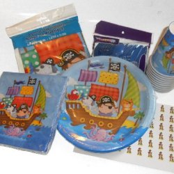 Little Boys Pirate Party Supplies - Plates, Napkins, Silverware, Cups, Plastic Table Cover & 54 Matching Hershey Kiss Labels