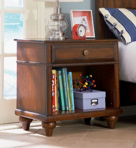 Image of Kids Nightstand with Rope Design Trim in Antique Honey Brown Oak Finish (AZ00-46901x19483)