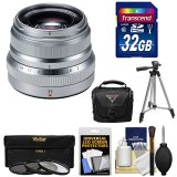 Fujifilm-35mm-f20-XF-R-WR-Lens-Silver-with-32GB-Card-3-Filters-Tripod-Case-Kit-for-X-A2-X-E2-X-E2s-X-M1-X-T1-X-T10-X-Pro2-Cameras