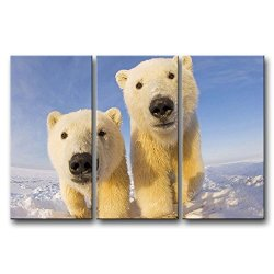 3 Panel Wall Art Painting Polar Bear Cubs In The Ice Pictures Prints On Canvas Animal The Picture Decor Oil For Home Modern Decoration Print For Bedroom