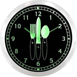 Nc1002 Knife Fork Time For Master Chef Kitchen Neon Sign Led Wall Clock