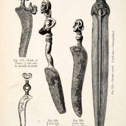 1889 Wood Engraving Knives Mound Bronze Age Zeeland Halland Fyen Sword Sweden - Original In-Text Wood Engraving