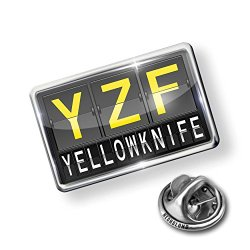 Pin Yzf Airport Code For Yellowknife - Lapel Badge - Neonblond