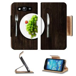Green Grapes Fork Knife Dish Samsung Galaxy S3 I9300 Flip Cover Case With Card Holder Customized Made To Order Support Ready Premium Deluxe Pu Leather 5 Inch (132Mm) X 2 11/16 Inch (68Mm) X 9/16 Inch (14Mm) Luxlady S Iii S 3 Professional Cases Accessories