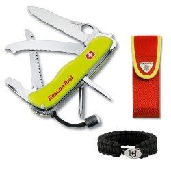 Victorinox Pocket Knife W/ Lock Blade Rescuetool One Hand In Yellow - 53900 + Victorinox Paracord Bracelet