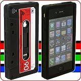 [ケースがスタンドになる!]iTape Deck カセットテープ型iPhone 4シリコンケース(ブラックxレッド)【Touch Labで紹介★注文殺到中!!】