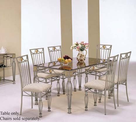 Image of Dining Table with Glass Top Light Silver Finish (VF_AM7590)
