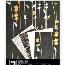 Black Ink Decorative Paper Pack, 8.5 By 11-Inch, Meadow Flowers Black