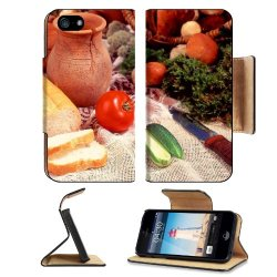 Cucumber Bread Tomato Baked Goods Herbs Knife Apple Iphone 5 / 5S Flip Cover Case With Card Holder Customized Made To Order Support Ready Premium Deluxe Pu Leather 5 3/16 Inch (132Mm) X 2 11/16 Inch (68Mm) X 9/16 Inch (14Mm) Liil Iphone 5 Professional Cas