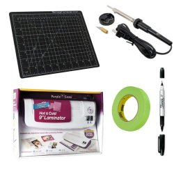 "Us Art Supply Diy Create Your Own Custom Stencil Kit With Hot Knife Stencil Cutter, 9 Inch Laminator With 100 Laminating Sheets: (40) 8.5"" X 11"", (30) 4"" X 6"", Self-Healing Cutting Mat, Masking Tape, And A Sharpie Fine/Ultra Fine Point Permanent Marker"