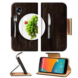 Green Grapes Fork Knife Dish Google Nexus 5 Hammerhead Lg Flip Case Stand Magnetic Cover Open Ports Customized Made To Order Support Ready Premium Deluxe Pu Leather 5 11/16 Inch (145Mm) X 2 15/16 Inch (75Mm) X 9/16 Inch (14Mm) Luxlady Nexus Cover Professi