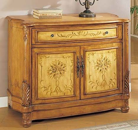 Image of Console Table Bombe Chest Light Oak Finish (VF_AM9162)
