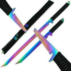 Dual Rainbow Blade Full Tang Ninja Swords W/ Sheath Dual Rainbow Blade Full Tang Ninja Swords W/ Sh