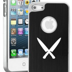 Apple Iphone 5 5S Black 5E151 Aluminum Plated Chrome Hard Back Case Cover Chef Knives