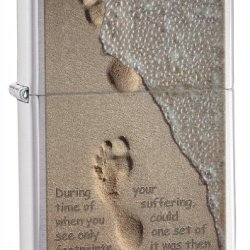 Zippo Footprints Brushed Chrome Pocket Lighter