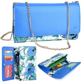 KroO-LG-V10-57-LG-G-Vista-2-LG-G4-Pro-LG-G-Stylo-LG-G-Pro-2-Flex-Phone-Case-2016-Electric-BlueGreen-Floral-Beach-Crossbody-Wallet