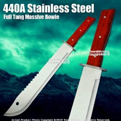 440A Stainless Steel Full Tang Massive Bowie Style Fixed Blade Knife W/ Sheath