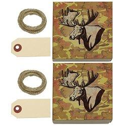 Moose Head Bust Kraft Gift Boxes Set Of 2