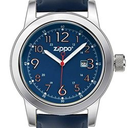 Zippo Casual Blue Face Watch With Blue Leather Strap