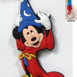 Disney Parks Sorcerer Mickey Mouse Rubber Keychain - Disney Parks Exclusive & Limited Availability + Bonus Colored Belt Clip Keychain Included
