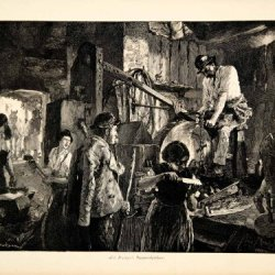 1907 Wood Engraving Knife Sharpening Menzel Grindstone Worker Barn Laborer Boy - Original Wood Engraving