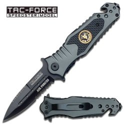 "3.25"" ""Air Force"" Spring Assisted Rescue Knife - Gray & Black"
