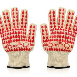Ibarbq(Tm) Gloves - Withstand 662 Degrees F (350C) - Superior Comfort Barbeque-Grille-Smoker-Oven Heat Protection Gloves- Thermally Insulated And Reinforced With Silicone And Dupont(Tm) Nomex(Tm) And Kevlar(Tm) With A Gentle Cotton Lining To Protect All F