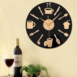 High Quality Knife And Fork Coffee 3D Quartz Thicken Wall Clock For Home Decoration Unique Gift Free Shipping