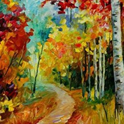 Original Painting The Small Road Painting Contemporary Artwork Knife Paintng Oil Painting Wall Art Canvas Unframed Painting 40X24In/100X60Cm