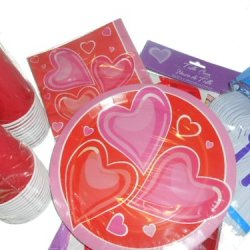 Pink Hearts Party Supplies - Tablecover, Plates, Napkins, Silverware, Cups, And 54 Hershey Kiss Labels
