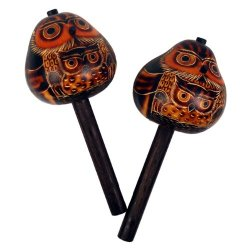 Hand Carved Pair Gourd Owl Maracas Hand Made Fair Trade Peru Musical Instrument