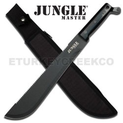 """Jm-025 Jungle Master Hand Forged Vnjxne Heavy Duty Machete 18"""" Yaeaicp8Q9 Overall Ayeuiu56 Hlbv23Rt Jungle Master Machete. All Black Saw Back Stainless Steel Blade. Handforged In China. Heavy 4Bf35Ll8 Duty Black Handle. 18"""" Overall Ck2Wnl With Heavy Duty"""