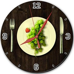 "Green Grapes Fork Knife Dish 10"" Quartz Plastic Wall Round Clock Classic Analog Setting Customized Inch Hand Needle Made To Order Support Ready Assembly Required Luxlady Dial Time Personalized Gift Battery Operated Accessories Graphic Designed Model Hd Te"