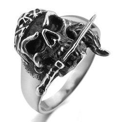 Men'S Stainless Steel Ring Silver Black Pirate Skull Dagger Knife Gothic Size10