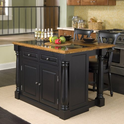Image of 3pc Kitchen Island with Granite Top and Stools Set in Black Finish (VF_HY-5009-948)