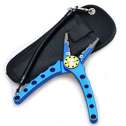 Fsing Fishing Pliers With Aluminum Handles And Stainless Steel Jaws Cutter For Super Braided Mono Fluorocarbon Line Saltwater/Freshwater Gear (Blue)