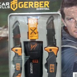 Bear Grylls 2 Knife Set W/ Metal Stamped Tin