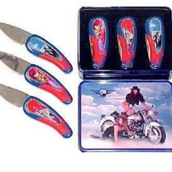 New Sale 3 Pc Set Motorcycle Collector Knives