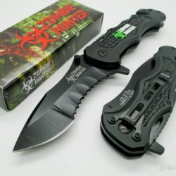 Zombie Hunter Assisted Opening Rescue Tactical Pocket Folding Collection Knife Tactical Outdoor Survival Camping Hunting - Black